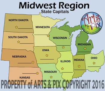 Midwest Region Map CLIPART