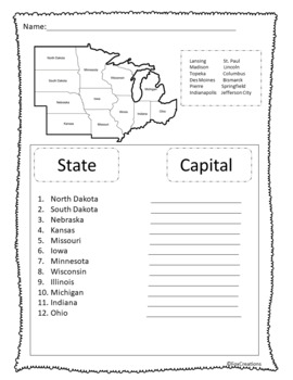 Midwest Region States and Capitals