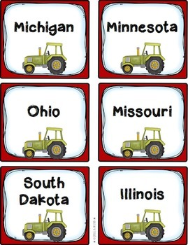 Midwest Region States and Capitals Task Cards