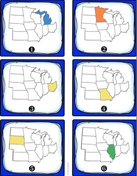 Midwest Region States and Capitals Task Cards {Four Regions of United States}