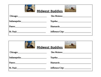 Midwest Region of the U.S. Buddies Sheet