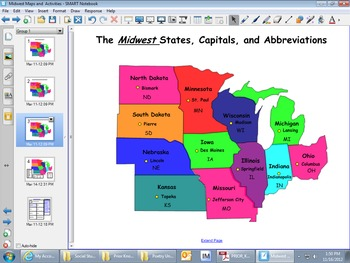 Midwest Regions Map and Smartboard Activities