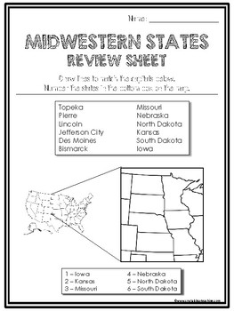 Midwest State Region Review Sheets And Quiz