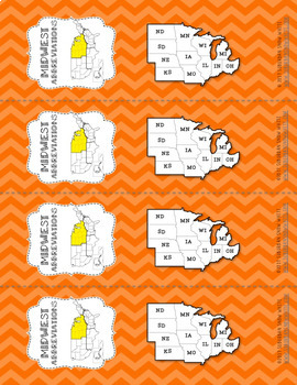 Midwest United States Bookmarks with States, Capitals, and Abbreviations
