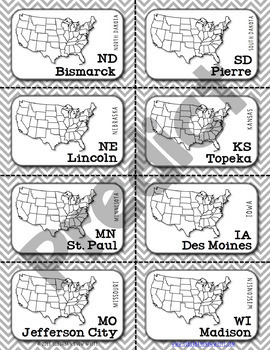 Midwest United States Flashcards, States, Capitals, Abbreviations {Option 2}