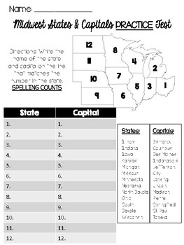 image regarding Midwest States and Capitals Quiz Printable known as Midwest Claims and Capitals Quiz