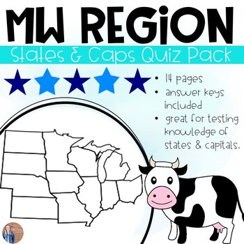 image regarding Printable State Capitals Quiz called Midwest Says And Capitals Worksheets Education Supplies