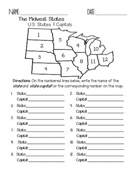 photo relating to Midwest States Quiz Printable identify Midwest Suggests and Capitals Quiz Pack