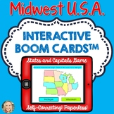 Midwest U.S. States and Capitals Boom Cards, Games, Geography, Map Skills