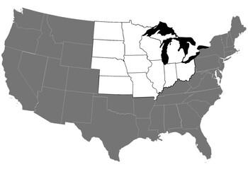 Midwest U.S. states landscape mode