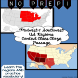 Midwest and Southwest Regions of the USA: Cloze Context Clues Passage