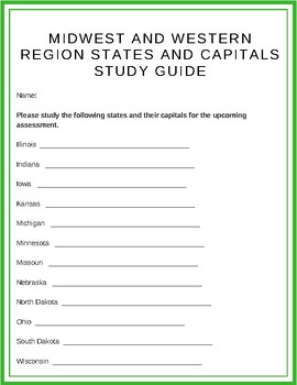 Midwest and Western United States, States and Capitals