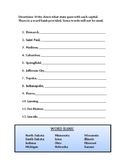Midwest capitals quiz or worksheet