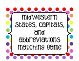 Midwestern States, Capitals, and Abbreviation Matching Cards
