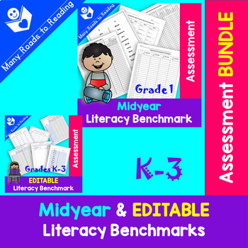 Midyear & Editable Literacy Assessment BUNDLE K-3