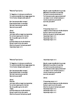 """Canción:  """"Mientes"""" - Cloze passage activity for Preterite"""