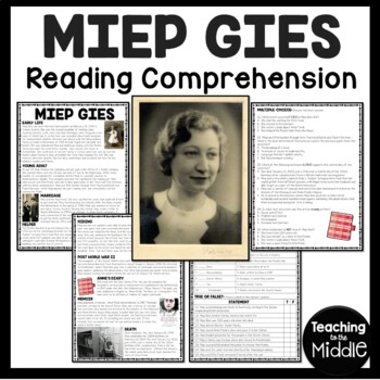Miep Gies Biography Reading Comprehension, Diary of a Young Girl, Anne Frank