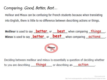 Mieux, Meilleur and Pire: French Quick Lesson