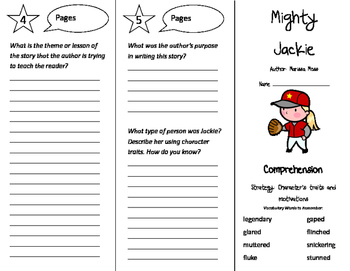Mighty Jackie Trifold - Storytown 4th Grade Unit 1 Week 2