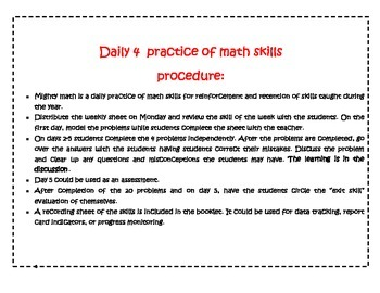 Mighty Math Daily 4 Practice of Skills for Grades 1&2
