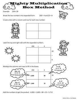Box/Area Method for Multiplication Practice Pages