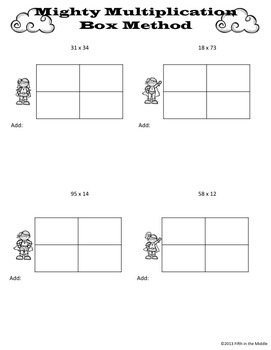 box area method for multiplication practice pages by fifth in the middle. Black Bedroom Furniture Sets. Home Design Ideas