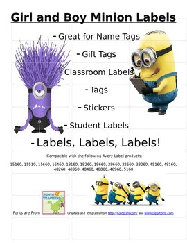 Mighty Mighty Minion Editable Address Labels