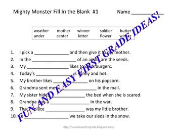 """Mighty Monster Matching Fun with """"er"""" Words (Common Core Aligned)"""