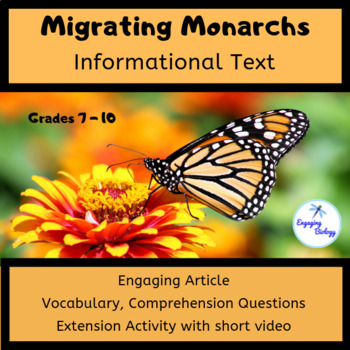 Migrating Monarchs Informational Text and Activity