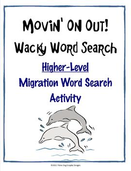 Migration Animals Higher Level Word Search Activity