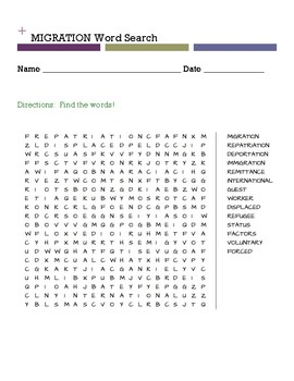 Migration Word Search
