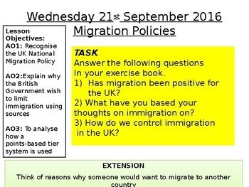 Migration to and from countries - Immigration debate European politics