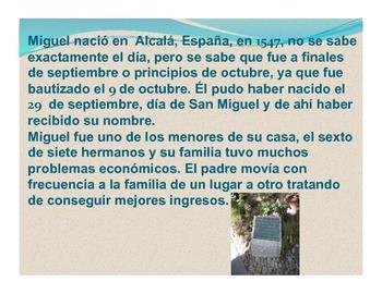 Miguel de Cervantes presentation and student activity