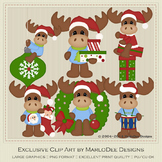 Mike the Moose Christmas Clipart Graphics Set 1
