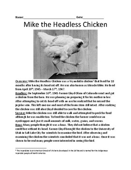 Mike the headless chicken - Miracle Mike lesson facts history questions