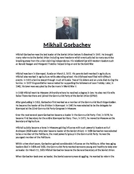 Mikhail Gorbachev Biography Article and Assignment Worksheet