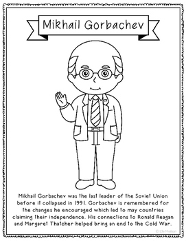 Mikhail Gorbachev Biography Coloring Page Craft or Poster, Soviet Union