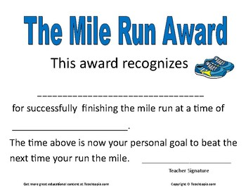 Mile Run Certificate