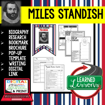 Miles Standish Biography Research, Bookmark Brochure, Pop-Up, Writing, Google