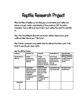 Miles and Miles of Reptiles Common Core Reading/Writing Science Unit