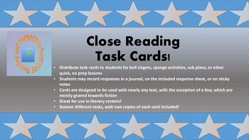 Milestone Freebie- Common Core Close Reading Task Cards
