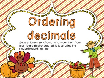 Milestone Freebie!  Ordering Decimals Center Activity for Fifth Grade
