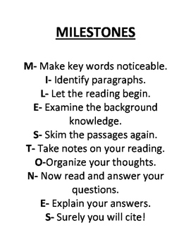 Milestones Test Taking Strategies Packet