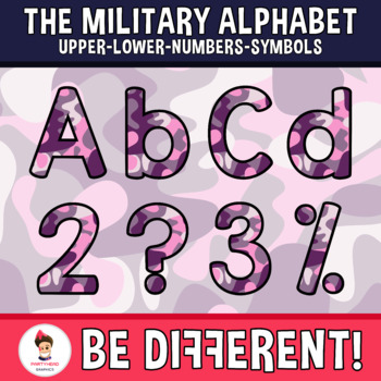 Military Alphabet Clipart Letters ENG.-SPAN. (Upper-Lower-Numb.-Symbols)