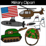 Military Clipart: helicopter, helmet, American Flag, Tank, Submarine, and Jet