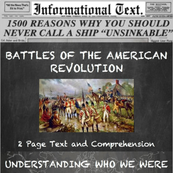 Campaigns of the American Revolution--Informational Text Worksheet