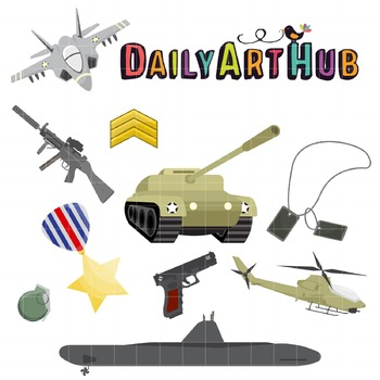Military Equipment Clip Art - Great for Art Class Projects!