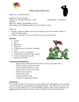 Military/Memorial Day Team Building Lesson