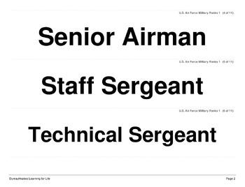 Military Ranks: Air Force (Worksheets and Word Walls)