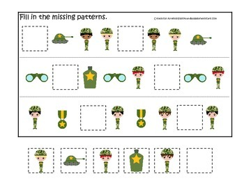 Military Support Our Troops (boys) Fill in the Missing Pattern preschool game.